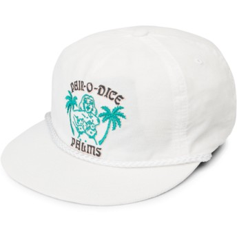 Casquette plate blanche snapback Pair-O-Dice White Volcom
