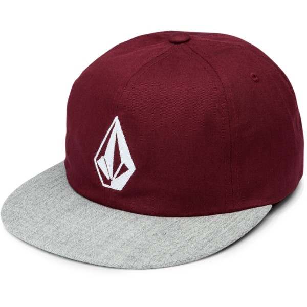 casquette-plate-rouge-ajustable-avec-visiere-grise-stone-battery-wild-ginger-volcom