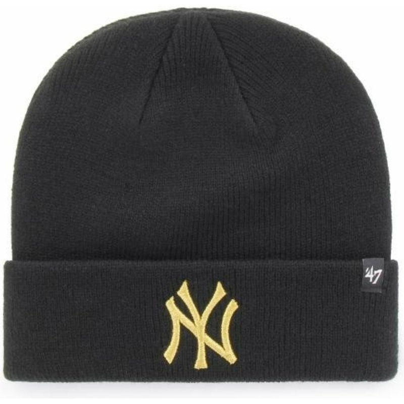 bonnet-noir-avec-logo-or-new-york-yankees-mlb-cuff-knit-metallic-47-brand