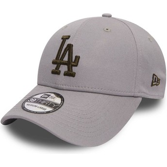 Casquette courbée grise ajustée avec logo or 39THIRTY Essential Los Angeles Dodgers MLB New Era