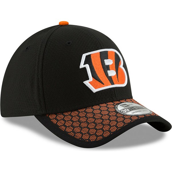 casquette-courbee-noire-et-orange-ajustee-39thirty-sideline-cincinnati-bengals-nfl-new-era