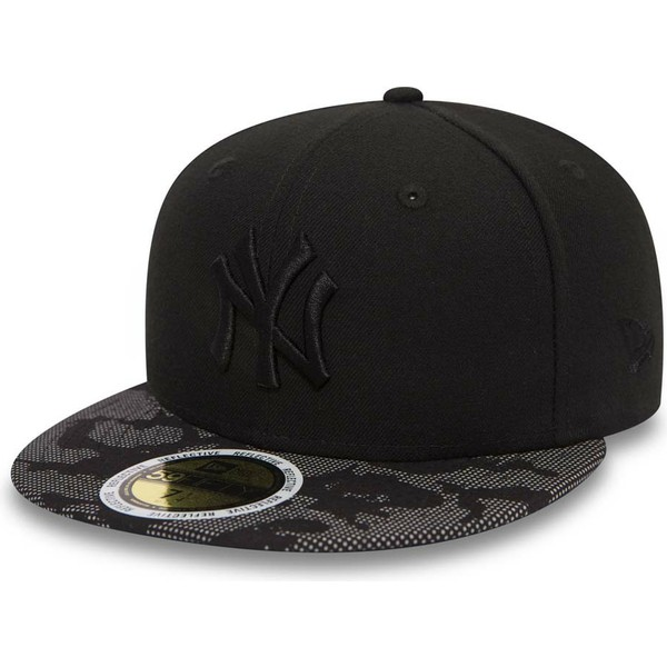 casquette-plate-noire-ajustee-avec-logo-noir-59fifty-night-time-new-york-yankees-mlb-new-era