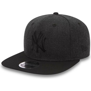 Casquette plate noire snapback avec logo noir 9FIFTY Seasonal Heather New York Yankees MLB New Era