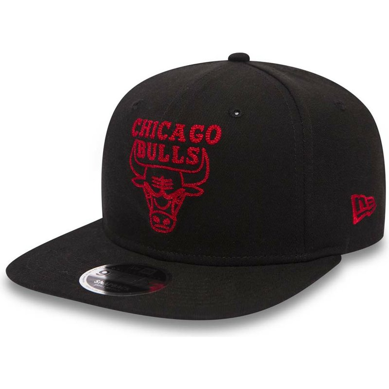 casquette-plate-noire-snapback-avec-logo-rouge-9fifty-chain-stitch-chicago-bulls-nba-new-era