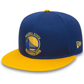 Casquette plate bleue et jaune snapback 9FIFTY Golden State Warriors NBA New Era
