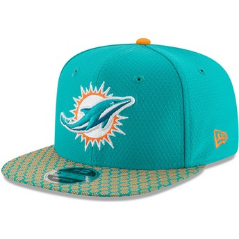 Casquette plate bleue snapback 9FIFTY Sideline Miami Dolphins NFL New Era