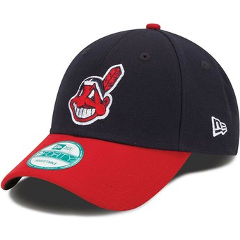 Casquette courbée noire et rouge ajustable 9FORTY The League Cleveland indians MLB New Era