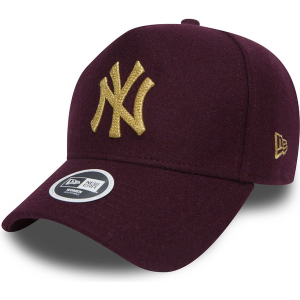 casquette-courbee-grenat-ajustable-9forty-melton-a-frame-new-york-yankees-mlb-new-era