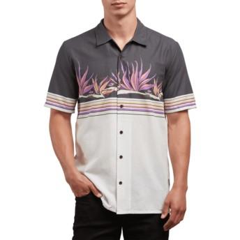 Chemise à manche courte blanche et noire Algar White Flash Volcom