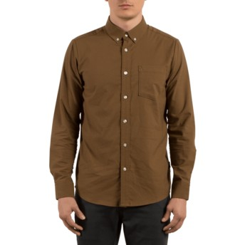 Chemise à manche longue marron Oxford Stretch Mud Volcom