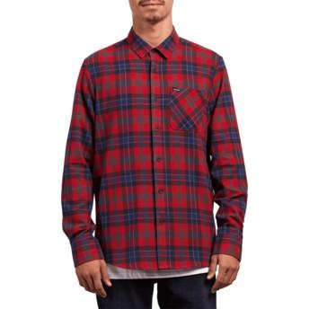 Chemise à manche longue rouge à carreaux Caden Plaid Engine Red Volcom