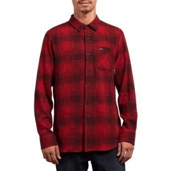 Chemise à manche longue rouge Buffalo Glitch Engine Red Volcom