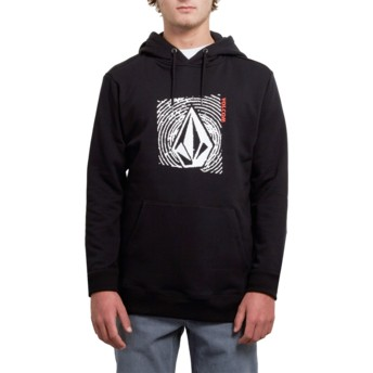 Sweat à capuche noir avec logo noir et blanc Supply Stone New Black Volcom