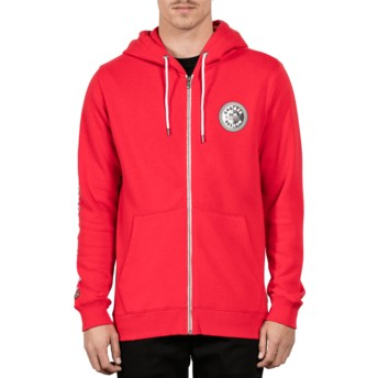 Sweat à capuche et fermeture éclair rouge Burger True Red Volcom