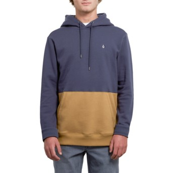 Sweat à capuche bleu marine et marron Single Stone Division Midnight Blue Volcom