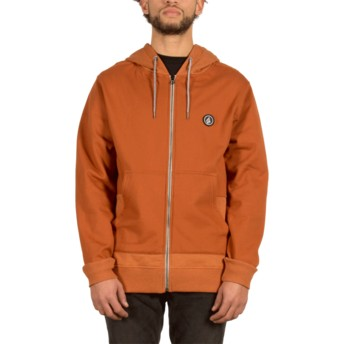Sweat à capuche et fermeture éclair marron Backronym Copper Volcom