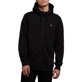 Sweat à capuche et fermeture éclair noir Single Stone Black Volcom