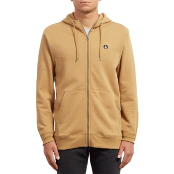 Sweat à capuche et fermeture éclair jaune Single Stone Old Gold Volcom