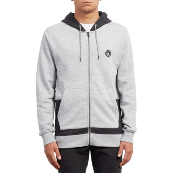 Sweat à capuche et fermeture éclair gris Backronym Grey Volcom