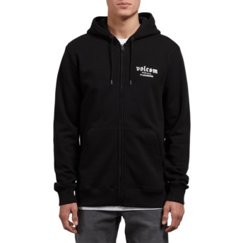 Sweat à capuche et fermeture éclair noir Supply Stone Black Volcom