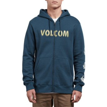 Sweat à capuche et fermeture éclair bleu Supply Stone Navy Green Volcom
