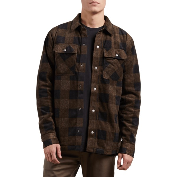 chemise-a-manche-longue-marron-bower-polar-old-gold-volcom