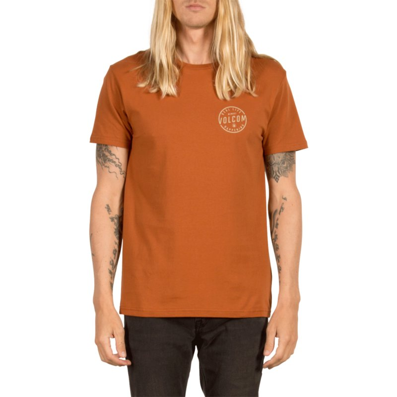 t-shirt-a-manche-courte-marron-on-lock-copper-volcom