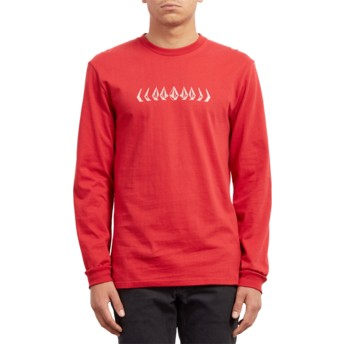 T-shirt à manche longue rouge Phase Engine Red Volcom