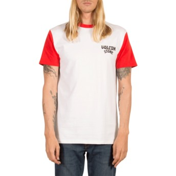 T-shirt à manche courte blanc et rouge Washer True Red Volcom