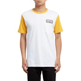 T-shirt à manche courte blanc et jaune Angular Tangerine Volcom