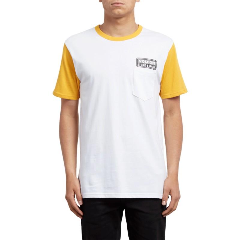0b3d591bd57ea T-shirt à manche courte blanc et jaune Angular Tangerine Volcom ...