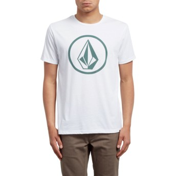 T-shirt à manche courte blanc avec logo vert Circle Stone White Volcom