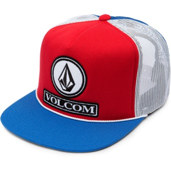 Casquette trucker rouge blanche et bleue Dually Cheese Motorhead Red Volcom