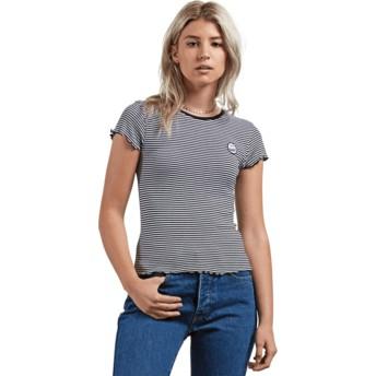 T-shirt à manche courte noir et blanc Colder Shoulder Black Combo Volcom