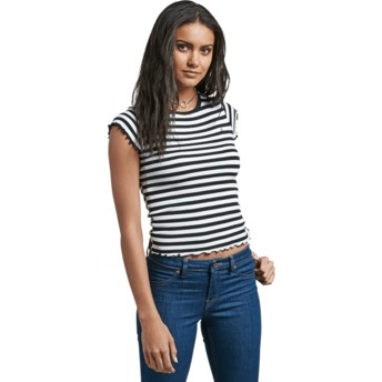 T-shirt à manche courte noir et blanc Colder Shoulder Black Volcom