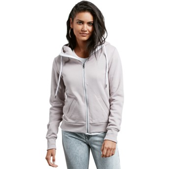 Sweat à capuche et fermeture éclair gris Walk On By Steel Purple Volcom