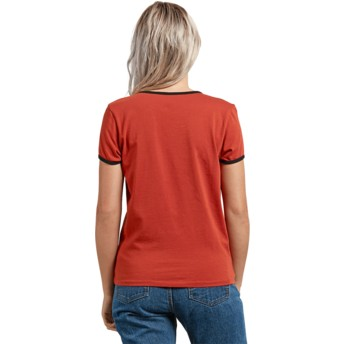 T-shirt à manche courte rouge Keep Goin Ringer Copper Volcom