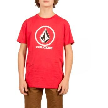 T-shirt à manche courte rouge pour enfant Circle Stone True Red Volcom