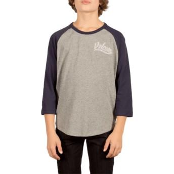 T-shirt à manche courte gris et bleu marine pour enfant Swift Indigo Volcom