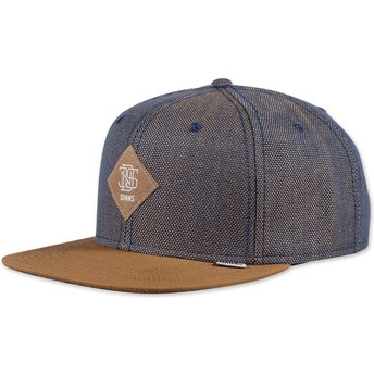 Casquette 6 panel bleue et marron snapback 2tone Oxford Djinns