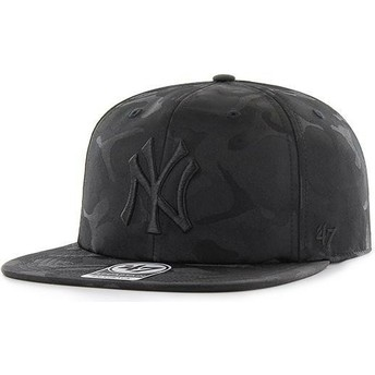 Casquette plate camouflage noire snapback New York Yankees MLB Captain Jigsaw 47 Brand