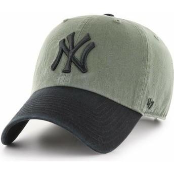 Casquette courbée verte avec visière et logo noire New York Yankees MLB Clean Up Two Tone 47 Brand