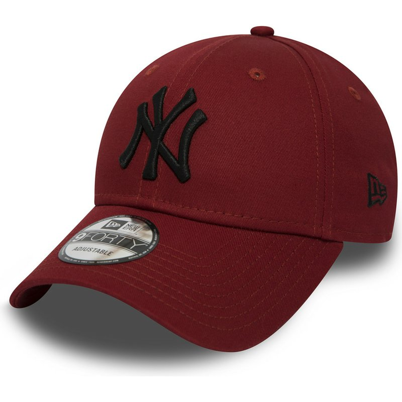 casquette-courbee-rouge-ajustable-avec-logo-noir-9forty-essential-new-york-yankees-mlb-new-era