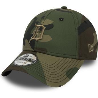 Casquette courbée camouflage ajustable avec logo marron 9FORTY Essential Detroit Tigers MLB New Era