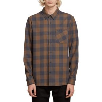 Chemise à manche longue bleue et marron à carreaux Joneze Mushroom Volcom