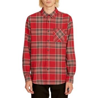 Chemise à manche longue rouge à carreaux Caden Plaid Burgundy Volcom