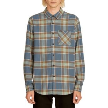 Chemise à manche longue bleue marine à carreaux Caden Plaid Indigo Volcom
