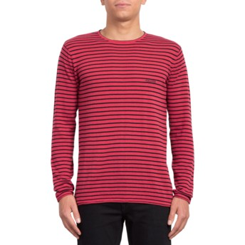 Sweat-shirt rouge Harweird Stripe II Burgundy Volcom