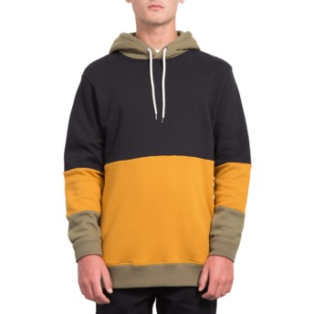 Sweat à capuche noir, jaune et gris Single Stone Division Black Volcom