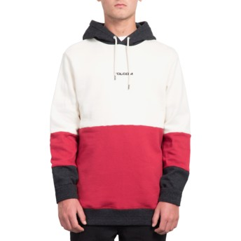 Sweat à capuche blanc, rouge et noir Single Stone Division Off White Volcom